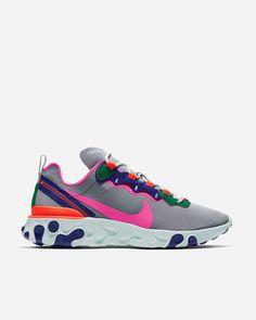 huge inventory 85616 dec8b Nike Sportswear React Element 55 BQ2728 006   Wolf Grey Laser Fuchsia    Footwear -