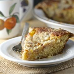 Nectarine Buttermilk Buckle, a buttery cake, topped with juicy, ripe fruit, and crowned with a crunchy streusel.