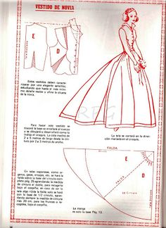 Super diy wedding dress patterns how to make sew ideas Skirt Patterns Sewing, Barbie Patterns, Costume Patterns, Doll Clothes Patterns, Sewing Clothes, Clothing Patterns, Diy Wedding Dress, Wedding Dress Patterns, Vintage Patterns