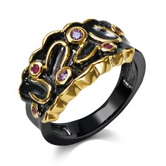 Black Rings for girl black  with cubic zircon color stone finger Ring party fashion jewelry Free shipment