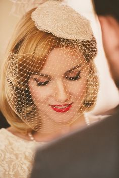 bride in pill hat and vintage veil - I like the length and how it sits on the face @Bonnie S. Daniels Capewell-Konrad  I'd like one like this for ceremony if we can figure out a way to flip it up without being stupid.
