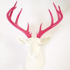 WHITE Hot PINK XL Faux Taxidermy Deer Head wall mount wall hanging in white with hot pink antlers / stag / deer wall art / faux animal head by mahzerandvee on Etsy https://www.etsy.com/listing/291348063/white-hot-pink-xl-faux-taxidermy-deer