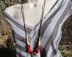 Rich Red Coral Long Boho Colorful Tribal Necklace w/ Exotic Coconut Shell Beads, 32 inches - Red, Black, Eggshell White, Gold - Leilani