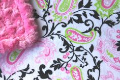 Minky Blanket Hot Pink Lime Green and Black Paisley with Hot Pink Swirl Minky by BabyBin,