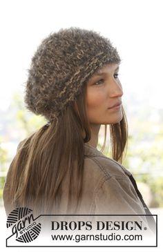 Ravelry: Happy Hat - Hat in 3 strands Symphony pattern by DROPS design Knit Hat Pattern Easy, Easy Knit Hat, Knitted Beret, Free Pattern, Knitted Beanies, Drops Design, Knitting Patterns Free, Free Knitting, Knitting Ideas