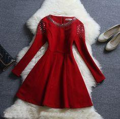 Elegant beaded long-sleeved dress VG10604KJ