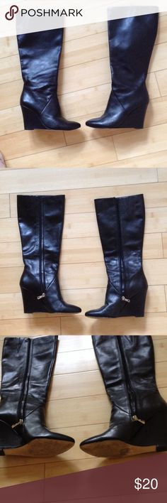 Ann Taylor Wedge boots I only used these a handful of times.  No real scuffs or damage.  Very comfortable. Ann Taylor Shoes Heeled Boots