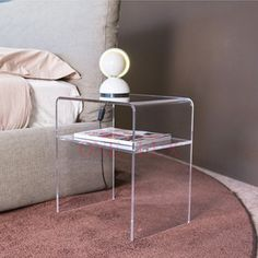 ONE LUX Plain and elegant clear transparent plexiglass acrylic bedside table with shelf   40W 30D 45H CM,Lucite Nightstand-in Nightstands from Furniture on Aliexpress.com | Alibaba Group