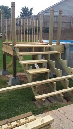 Pool steps for above ground pool google search pool pinterest decks ground pools and - Above ground pool steps for decks ...