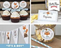 Decor Pack - Blue Woodland Fox Baby Shower // INSTANT DOWNLOAD // Banner, Food Tents, Cupcake Toppers, Favor Tags // Baby Boy // Printable