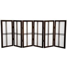 "Oriental Furniture 26"" Desktop Double Cross Shoji Screen 6 Panel Room Divider Finish:"