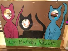 Kitty cat cutout photo opp and like OMG! get some yourself some pawtastic adorable cat apparel! Cat Themed Parties, 9th Birthday Parties, Cat Birthday, Animal Birthday, Birthday Ideas, Kitten Party, Cat Party, Animal Party, Kitty