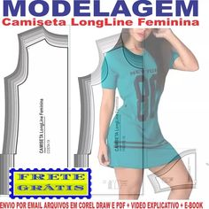 64ea31d867 Molde Modelagem Camiseta Longline Feminina Recorte Lateral - R  17