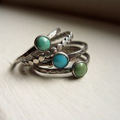 Set of 5 Natural Turquoise Stacking Rings in by brightsmith, $82.00