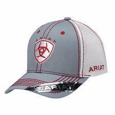 Ariat Western Mens Hat Baseball Cap Mesh Center Shield Logo One Size Red  1594106 578e29677721