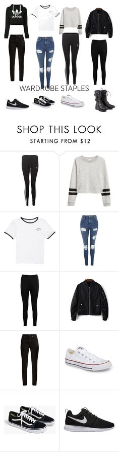 """Wardrobe Staples"" by kaiaskilton ❤ liked on Polyvore featuring adidas, Vans, Topshop, Boohoo, Yves Saint Laurent, Converse, J.Crew and NIKE"