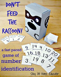 MAKE THIS FEED THE DINOSAUR WITH NUMBERS! Don't Feed The Raccoon! is a fun, simple, and fast paced game designed to teach preschoolers and kindergarteners to identify numbers, specifically teen numbers. Numbers Preschool, Math Numbers, Preschool Activities, Teaching Numbers, Preschool Centers, Preschool Printables, Math Intervention, Homeschool Math, Homeschooling