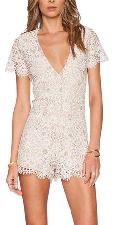 e86351105187 Alexis White Lace Embroidered Floral Short Sleeve New Romper Jumpsuit