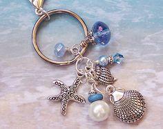 Starfish Keychain, Starfish Bag Charm, Purse Jewelry, Purse Charm, Beach Keychain, Tropical Keychain, Shell Keychain, Beach Lover Gift