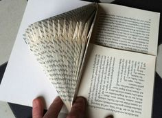 Papier falten Paper Art Babajezas Wundertüte The post Papier falten Paper Art appeared first on WMN Diy. Old Book Crafts, Book Page Crafts, Folded Book Art, Paper Book, Diy Paper, Paper Art, Diy Snowflake Decorations, Book Folding Patterns Free, Paper Crafts Magazine