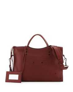 V31QD Balenciaga Blackout City AJ Shoulder Bag, Bordeaux