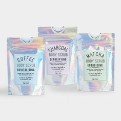 Our eco-friendly HOLO bags - the perfect packaging for your skin scrubs! Skincare Packaging, Beauty Packaging, Healthy Skin Care, Radiant Skin, Packaging Design Inspiration, Handmade Soaps, Body Scrub, Holographic, Bath And Body