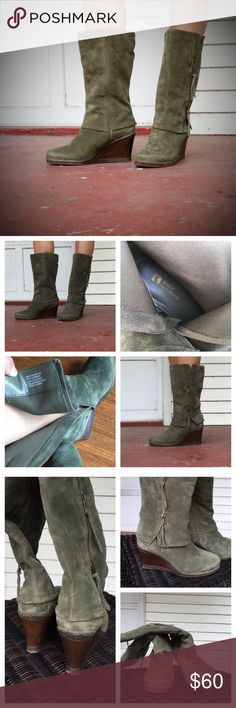 White Mountain Olive Suede Boots W/ Zipper These boots are in great condition. Barely worn. Even the soles have little to no signs of wear. Very comfortable wedges with zipper details. White Mountain Shoes Heeled Boots