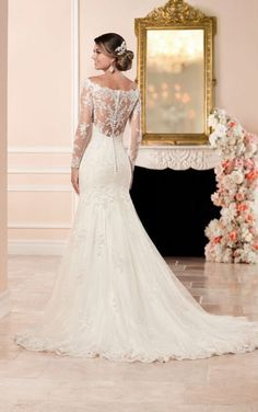 Satin Wedding Dresses 6353 Long Sleeved Wedding Dress with Illusion Back by Stella York - This long sleeve wedding dress from Stella York features an embroidered lace bateau illusion neckline, long lace sleeves and a lace-detailed back. Sheer Wedding Dress, 2016 Wedding Dresses, Lace Mermaid Wedding Dress, Wedding Dress Sleeves, Long Sleeve Wedding, Bridal Dresses, Lace Sleeves, Gown Wedding, Wedding Dress Trumpet