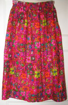 VTG 60s 70s Neon Floral Skirt by FAROUTVINTAGE on Etsy, $24.50