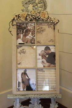 Old window frame with photo inserts - guests sign the glass panes - guest book idea - Love! Fall Wedding, Diy Wedding, Rustic Wedding, Dream Wedding, Wedding Book, Trendy Wedding, Wedding Seating, Unique Weddings, Wedding Stuff