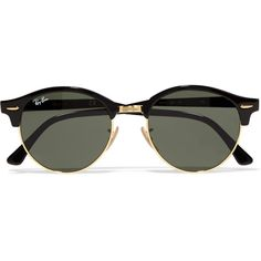 Ray-Ban Clubround acetate and gold-tone sunglasses (€145) ❤ liked on Polyvore featuring accessories, eyewear, sunglasses, glasses, jewelry, black, ray ban eyewear, lens glasses, ray ban sunglasses and ray ban sunnies