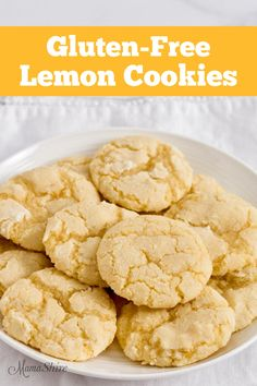 These Gluten-Free Lemon Cookies are easy to make and have the perfect combination of tart and sweet. Soft and chewy on the inside with sweet crispy outside. Best Gluten Free Recipes, Gluten Free Sweets, Gluten Free Baking, Lemon Cookies Easy, Lemon Crinkle Cookies, Bon Dessert, Dessert Recipes, Snack Recipes, Kitchen Recipes