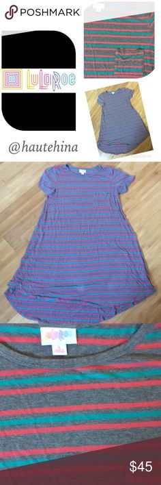 $5 Lularoe Carly striped high low dress Like new condition Lularoe Carly striped cotton high low dress. Small but fit up to large. Extremely comfortable and beautiful. One of favorite dress but sadly had to sell since I lost some weight ☹️ color is gray more accurate in last pix. LuLaRoe Dresses High Low