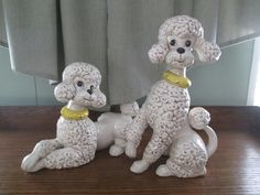 Vintage pair of large Beige and Brown Atlantic mold standard poodles with yellow collars by AntiquesPlus on Etsy