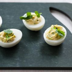 Watercress Deviled Eggs