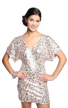 double cold shoulder sequin homecoming dress  $52.50