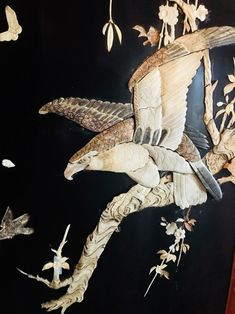 Fly, Eagles, fly on the road to victory!  One of two eagles from a Japanese lacquer wood two-fold floor screen in the collection of the Pearl S. Buck House, a National Historic Landmark in Bucks County, PA.
