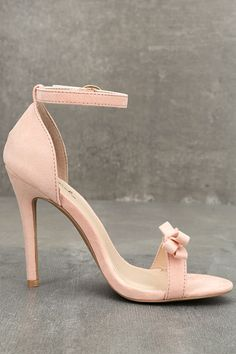 You'll be a total babe in the Babette Blush Suede Ankle Strap Heels! These flirty single sole vegan suede heels feature a bow-topped toe strap, plus an adjustable ankle strap with a gold buckle.