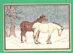 RARE ANTIQUE CHRISTMAS GREETING CARD HORSES PASTURE SNOWSTORM LANGBRIDGE POEM | eBay