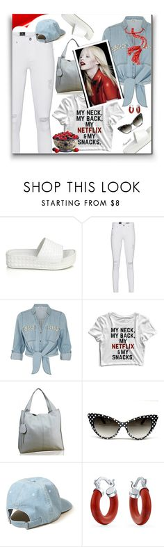"""Bright White Summer Denim"" by ragnh-mjos ❤ liked on Polyvore featuring Ash, AG Adriano Goldschmied, ZAK, Hollister Co. and Bling Jewelry"