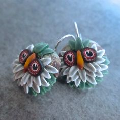 Green Cane Sculpted Owl Earrings by Deb Hart