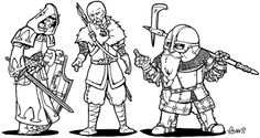 An Elf, Human and dwarf arguing. Dungeons and dragons group. weapons fantasy armor sword axe