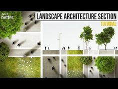 (44) Landscape Architecture Section and Plan in Photoshop Tutorial - YouTube