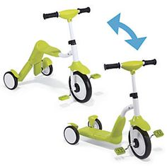 2 in 1 Tricycle Scooter: Toddlers will love pedaling around on this ingenious 2-in-1 tricycle, building coordination and balance as they play. And once theyre ready for a new challenge, it transforms into a extra-stable, three-wheel scooter! Sturdy metal frame, with height-adjustable handles...
