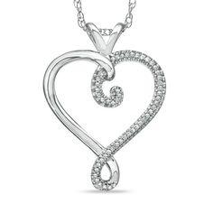 $139 1/10 CT. T.W. Diamond Heart-Shaped Swirl Pendant in Sterling Silver - Zales