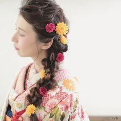 Graduation Hairstyles, Wedding Hairstyles, Headdress, Headpiece, Hear Style, Wedding Kimono, Hair Arrange, Festival Hair, Yukata