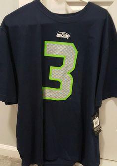 3e42242c6 NWT Seattle Seahawks 2XL XXL Russell Wilson Men Nike T Shirt Jersey Blue   Nike  SeattleSeahawks