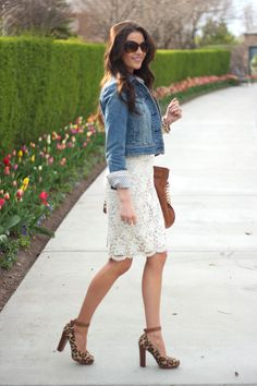 jean jacket. lace skirt. leopard shoes. fabulous outfit. If you haven't been to her blog, you should. she puts together the most amazing outfits!