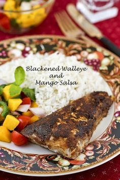Blackened Walleye and Mango Salsa