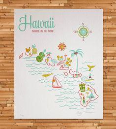 Vintage-Inspired Hawaii Map Print